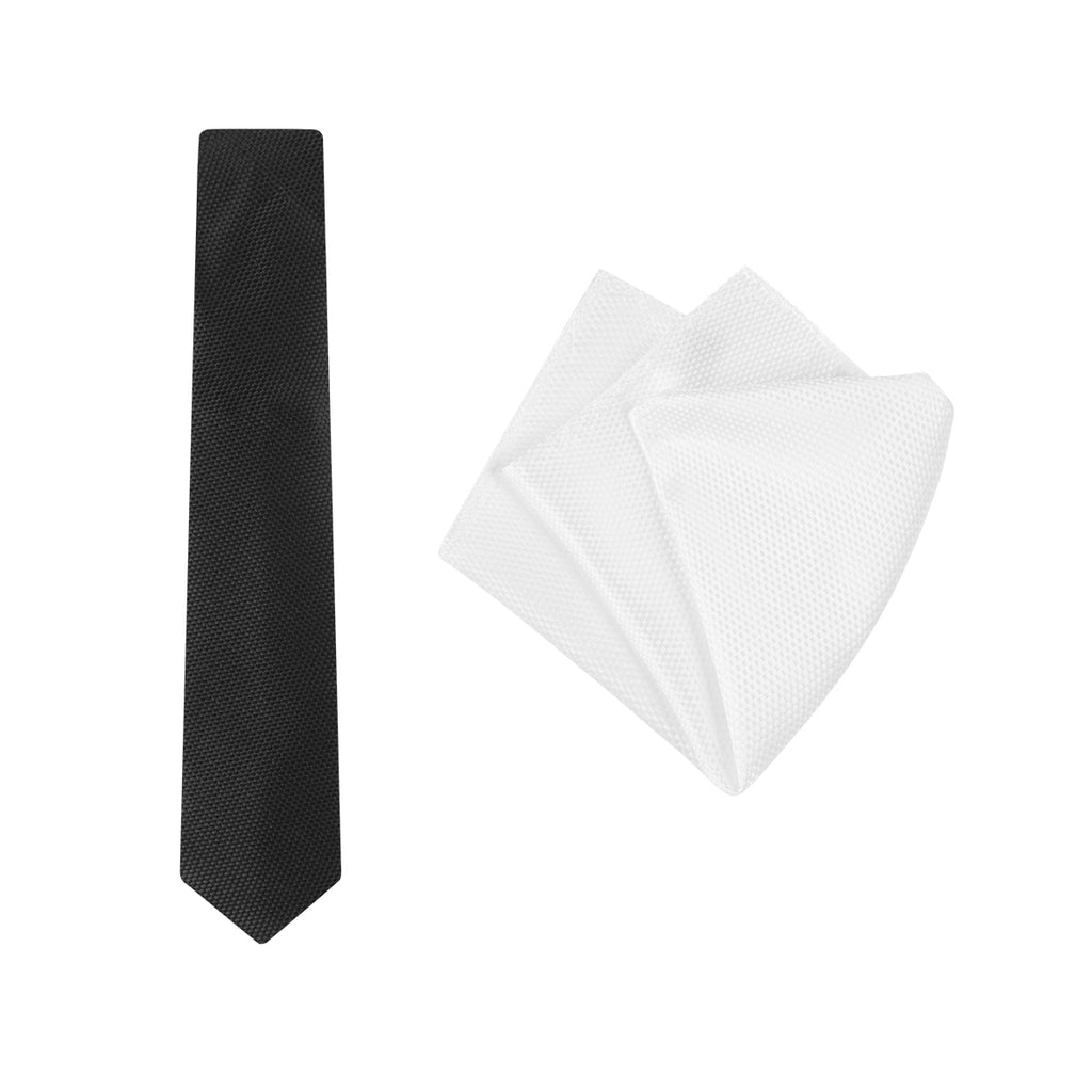 Buckle Black/White Carbon Tie and Pocket Square Set