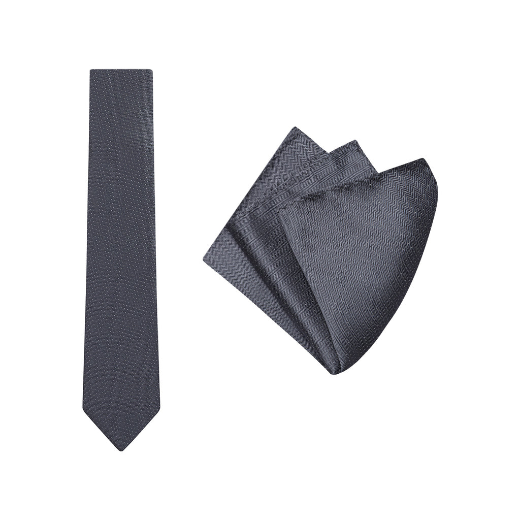 Buckle Charcoal Herringbone Tie and Pocket Square Set