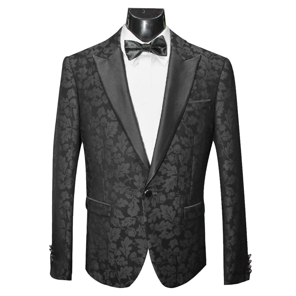 Charcoal Leaf Pattern Dinner/Tuxedo Jacket