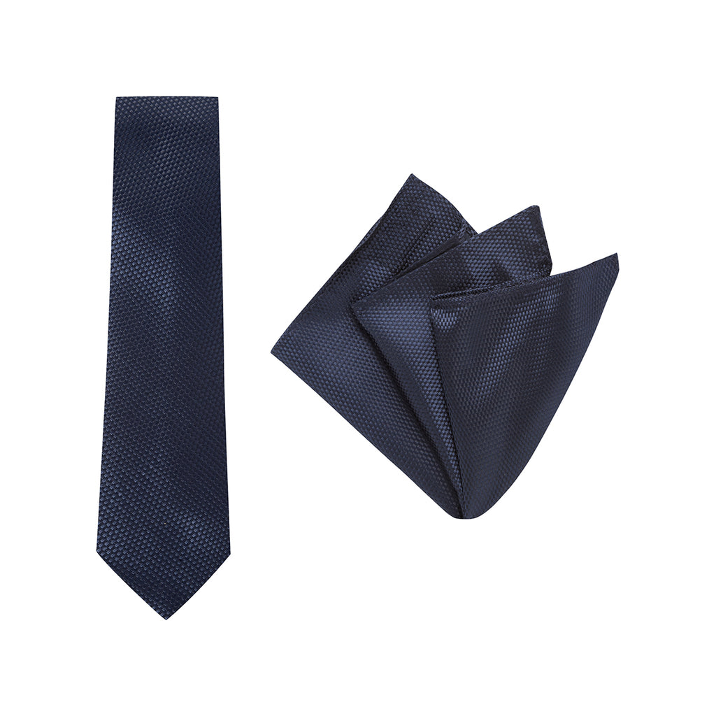 Buckle Navy Carbon Tie and Pocket Square Set
