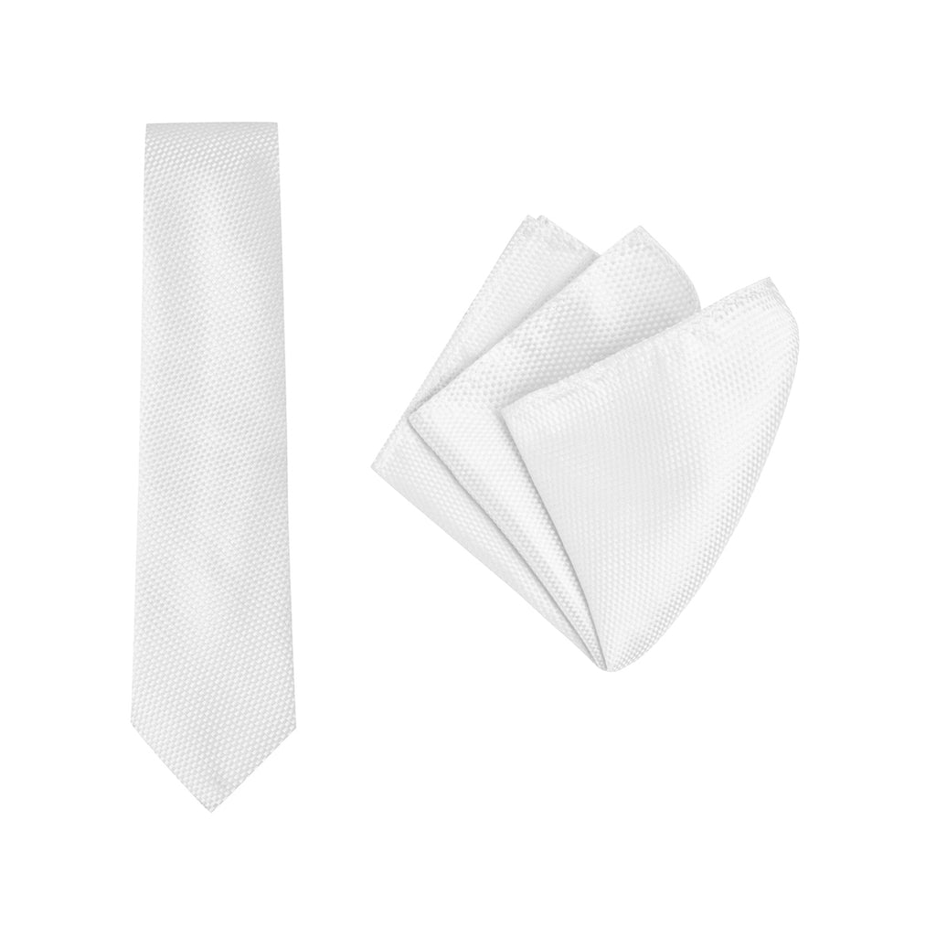 Buckle White Carbon Tie and Pocket Square Set