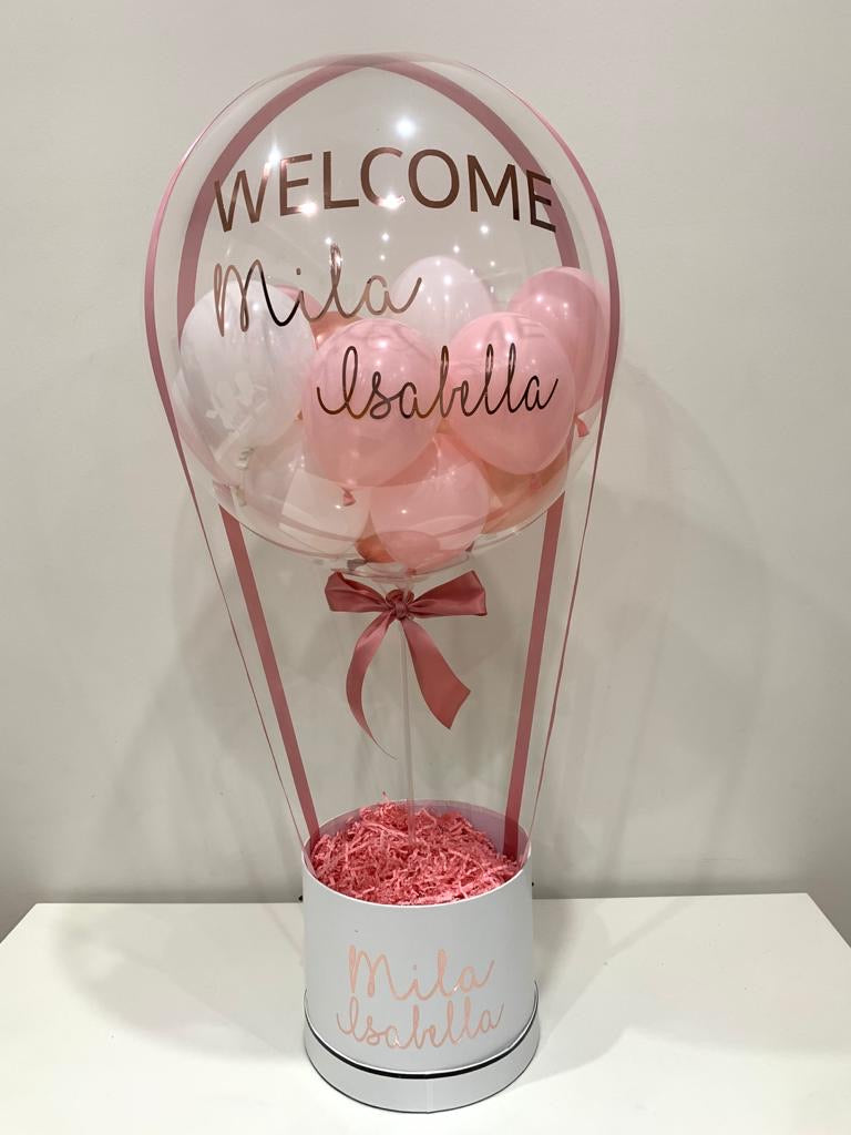 New Baby hot air balloon gift with personalised gift box