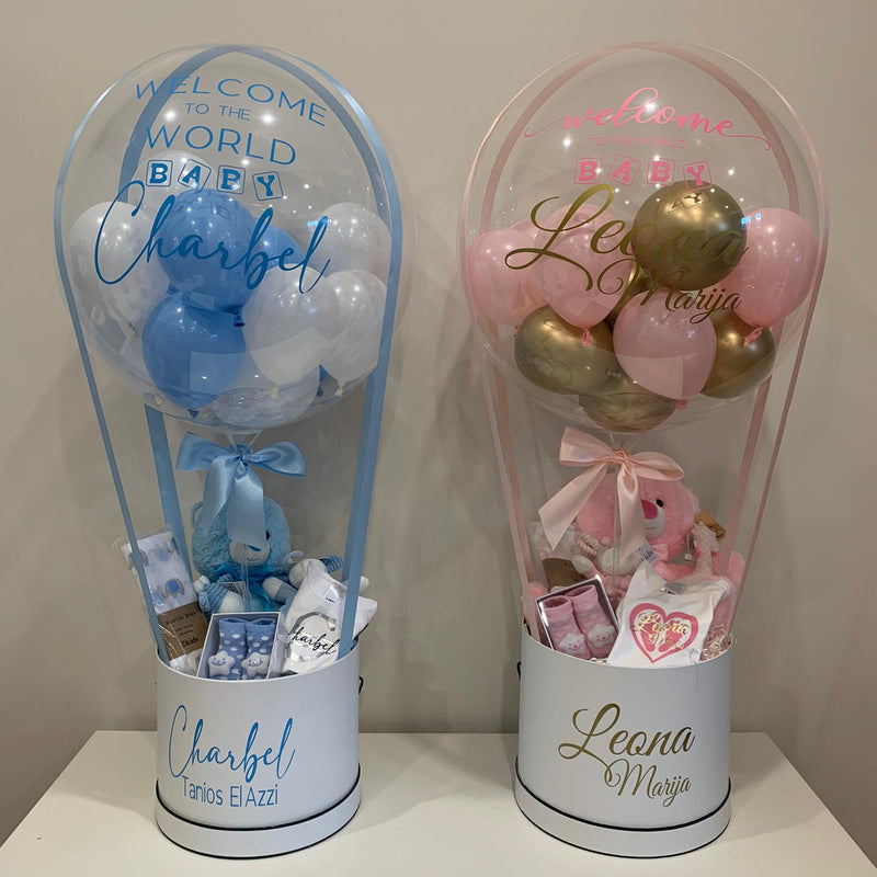 New Baby Package - hot air balloon gift with personalised gift box
