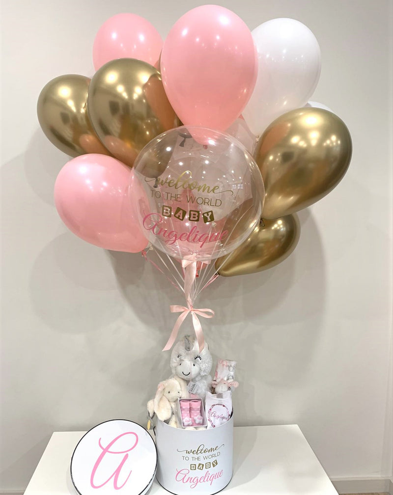 New Baby personalised gift box with balloon bouquet