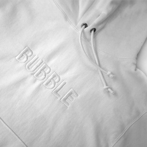 BUBBLE x Champion White Embroidered Hoodie