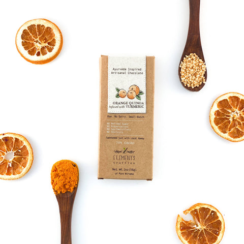 Orange Quinoa Turmeric Infusion Dark Chocolate Bar