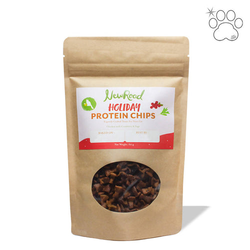 Holiday Protein Chips for Cats: Chicken with Cranberry & Sage (pack)