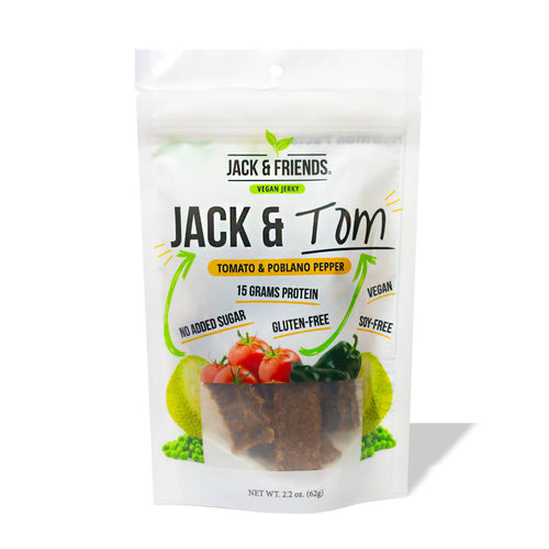 Jack & Tom (Tomato and Poblano Pepper) Jackfruit Jerky (3-pack)
