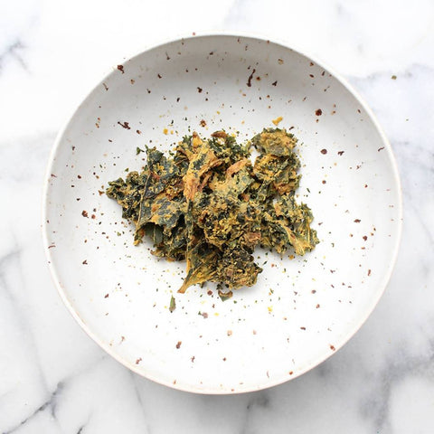 Heirloom Basil Pesto Kale Chips