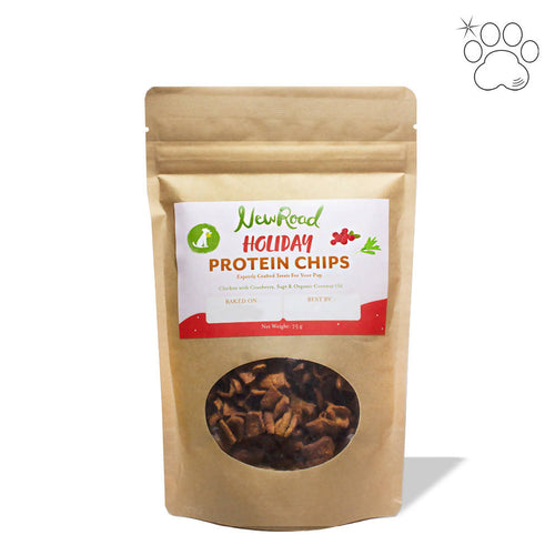 Holiday Protein Chips for Dogs: Chicken with Cranberry & Sage (pack)