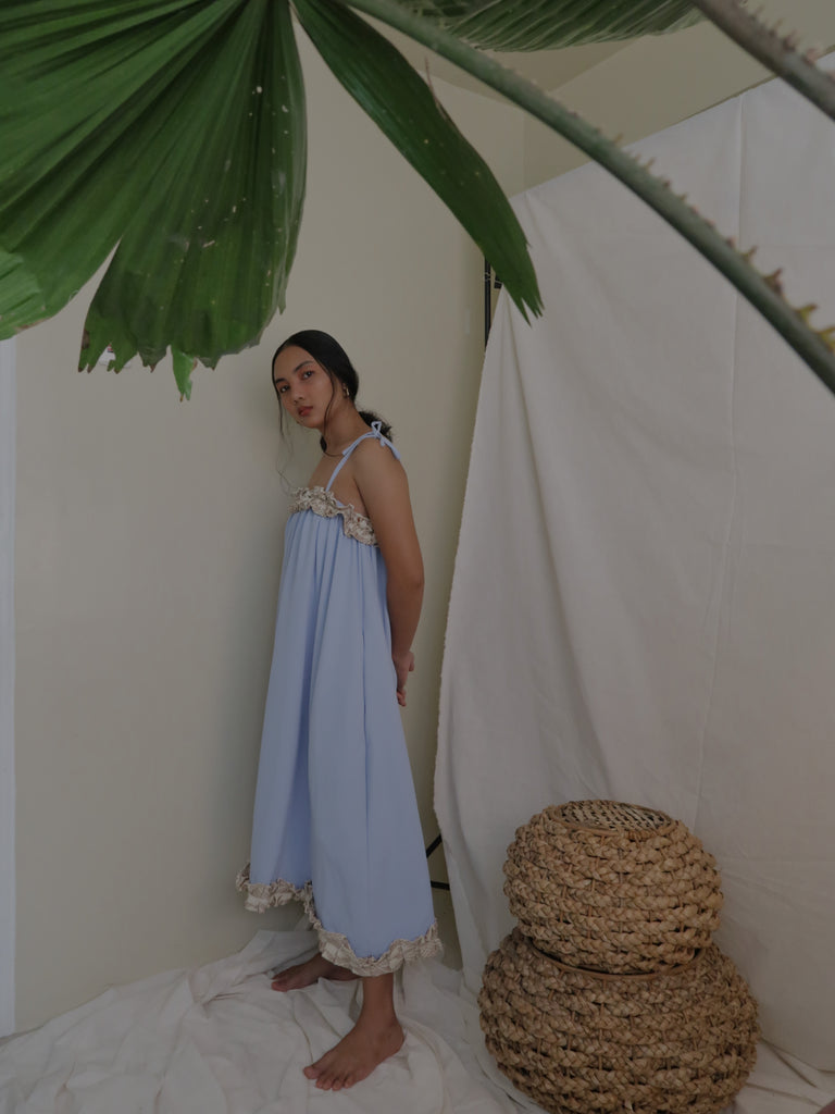 NENG daster dress, cloud blue with beige Yakan weave