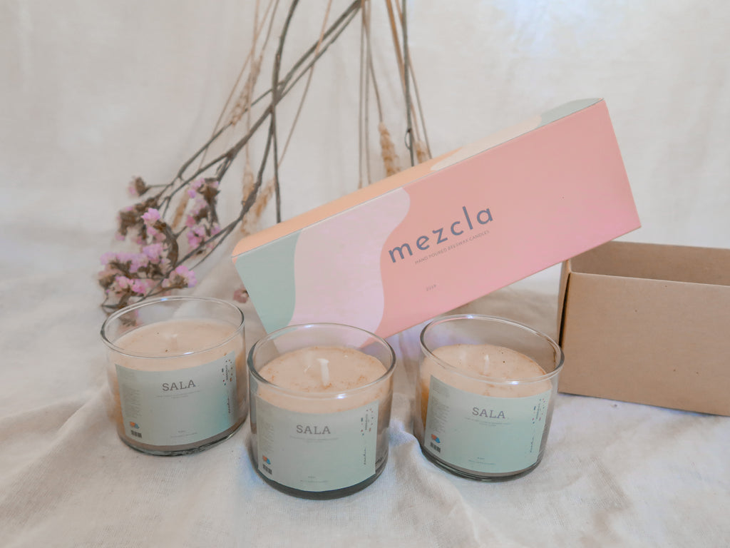 MEZCLA beeswax candle set small (3 pcs. SALA)