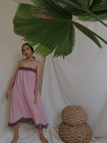 NENG daster dress, nude with black Yakan weave
