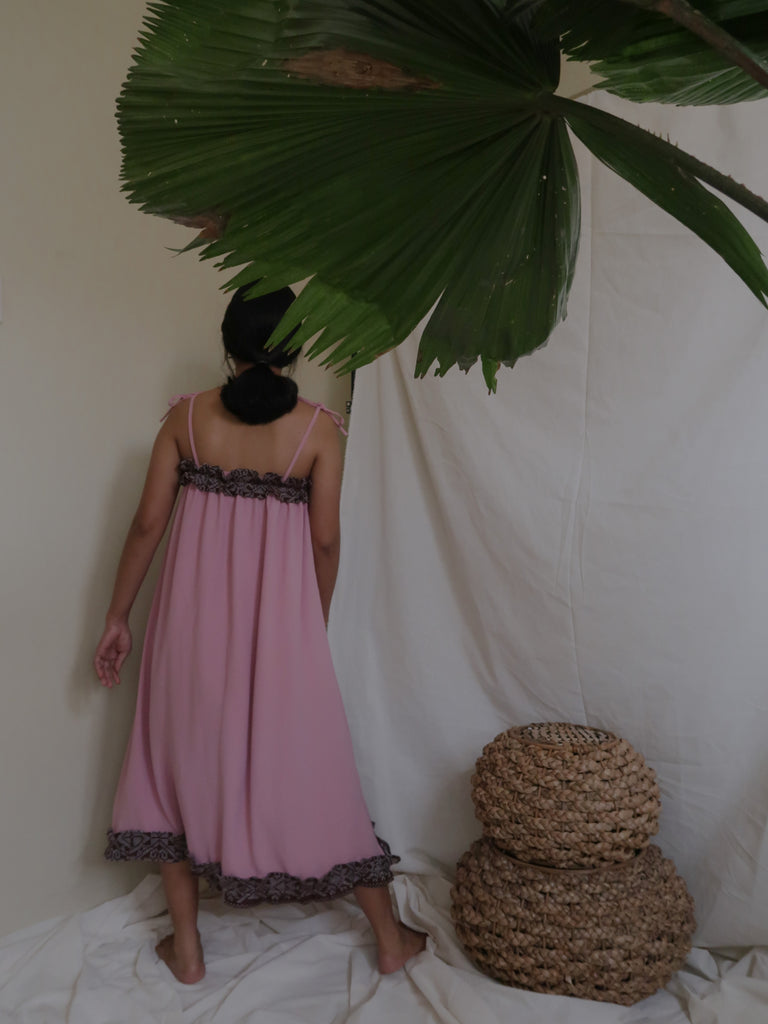 NENG daster dress, dusty rose with brown Yakan weave