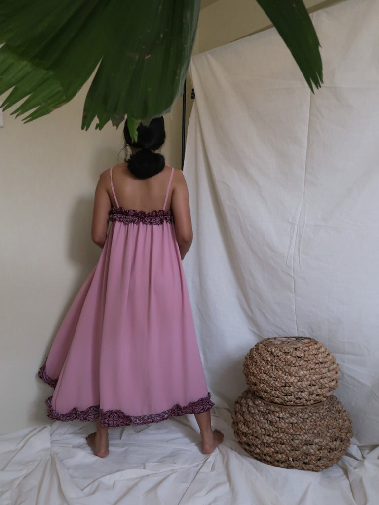 NENG daster dress, dusty rose with maroon Yakan weave