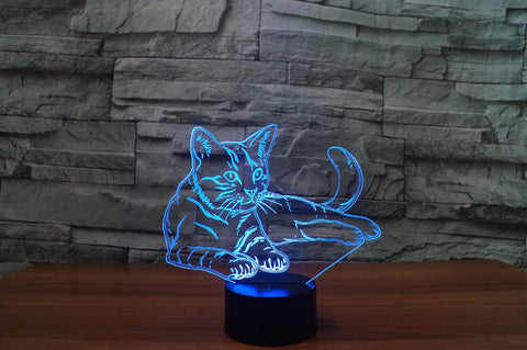 Optical Illusion Cat Lamp - Color Changing