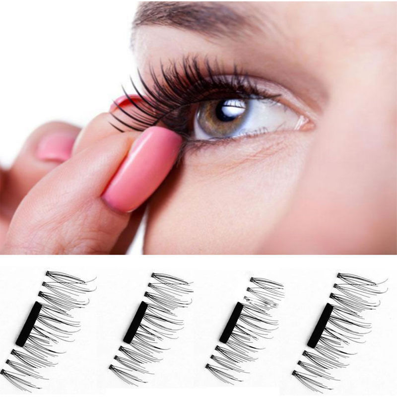6d73c3739a0 1 Pair/ 4 Pcs 3D Magnetic False Fake Eyelashes Easy To Wear Extension  Magnetic Eyelashes ...