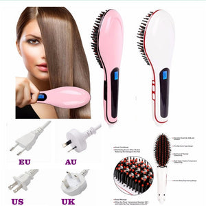 e918854b9ade3f 2017 New Electric Straightening Irons Magic hair Straightener LCD Display  Brush Smoothing Hair Styling Tools professional