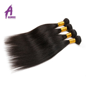 Alimice Hair Peruvian Straight Hair 1 Piece Natural Color 100% Human Hair Bundles Weaving 8-30inch Non Remy Hair - Brush 'n Polish