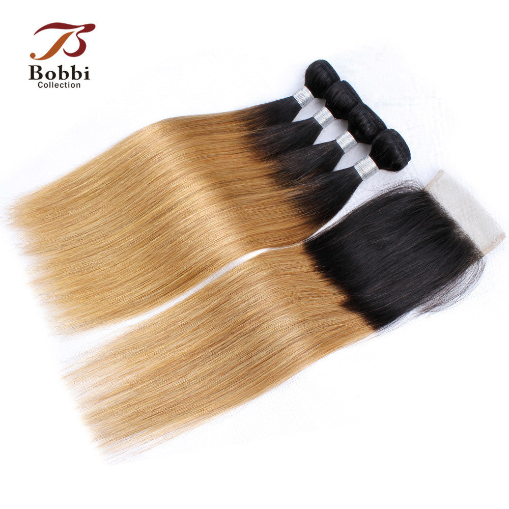 Bobbi Collection 34 Bundles With Closure T 1b 27 Ombre Honey Blonde