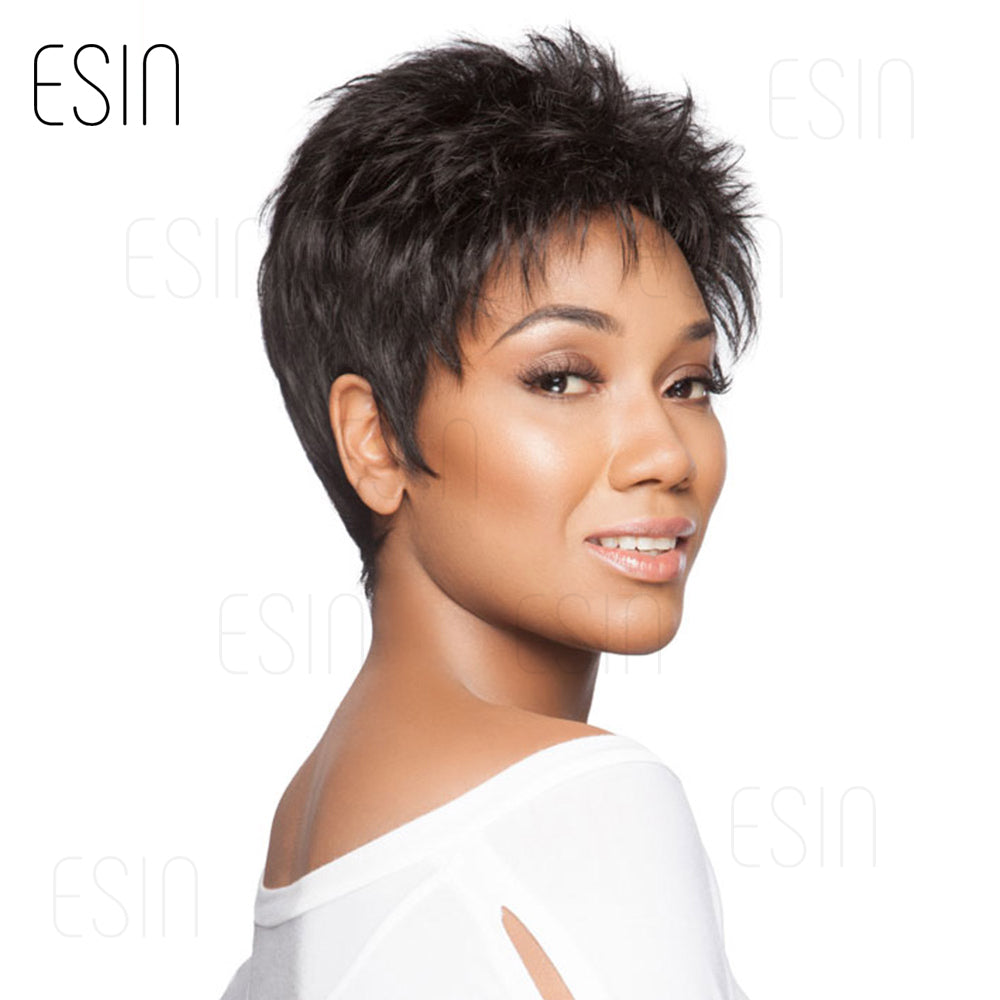 Esin 8 Inch Pixie Cut Short Hair Synthetic Wigs for Black Women Mixed 70%  Human ... eb284c9c1