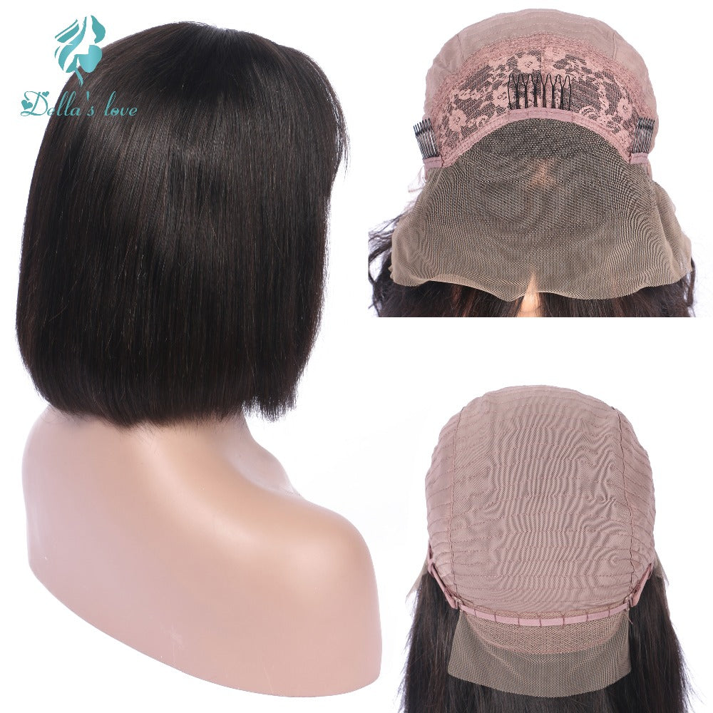 Lace Front Human Hair Extension Wigs With Bangs For Black Women Remy