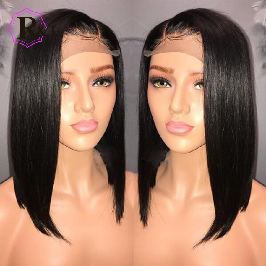 Human Hair Lace Wigs Lace Wigs Rulinda Brazilian Lace Front Human Hair Wigs With Baby Hair 13*4 Short Curly Remy Human Hair Lace Wigs For Women Bleached Knots