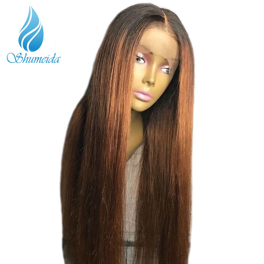 894490b1429 ... SHUMEIDA 150% Ombre Wigs Pre Plucekd Brazilian Ombre Lace Front Wig  Straight Human Hair Wigs ...