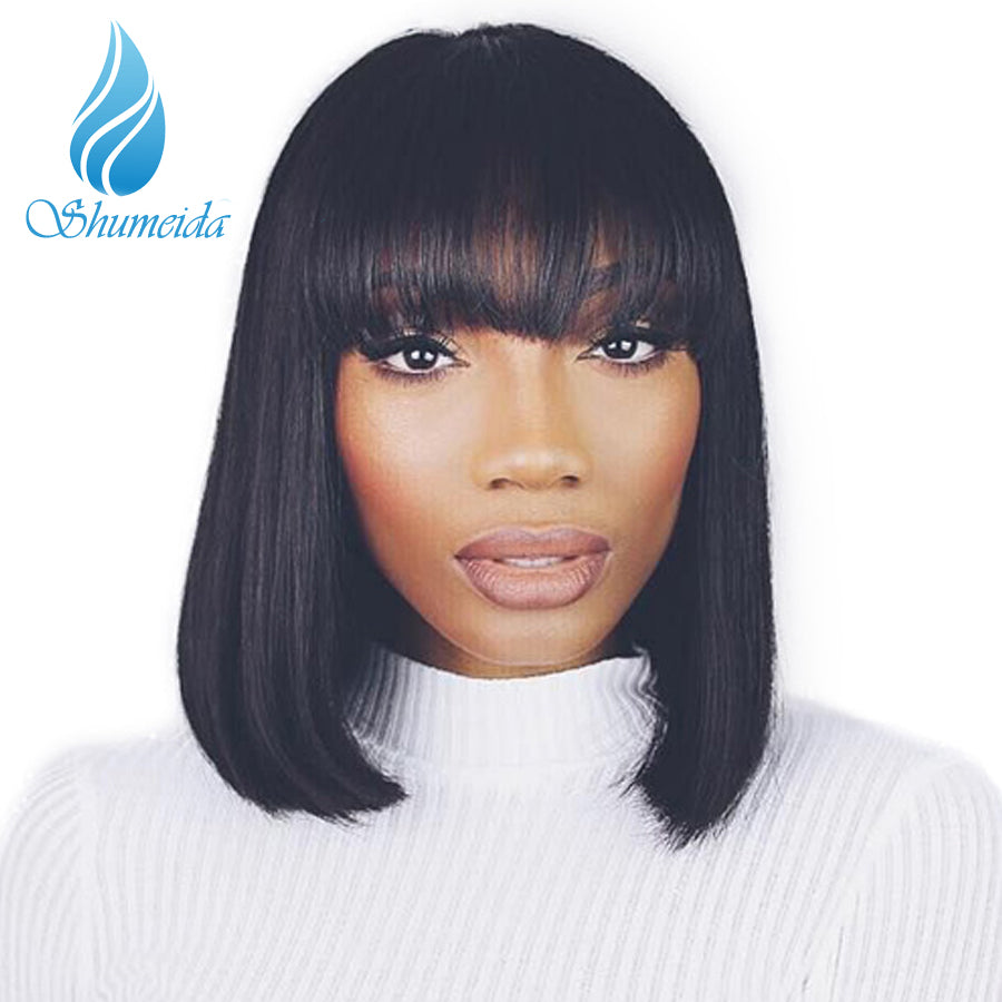 Shumenda Hair Straight Full Lace Human Hair Short Bob Wigs Natural Black Pre Plucked Brazilian Remy Hair Wigs With Bangs