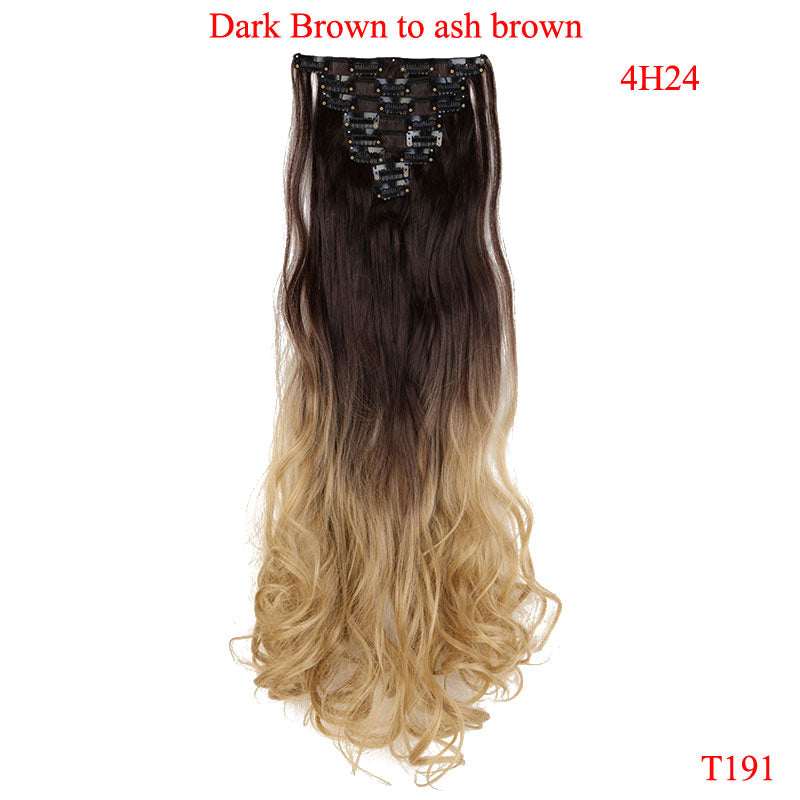 Snoilite 24inch 8pcsset Curly 18 Clips In False Hair Styling