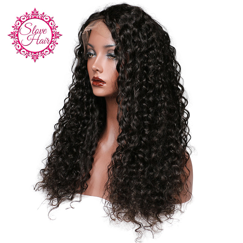 Slove Glueless Lace Front Human Hair Wigs For Women Deep Curly Weave Black Human  Hair Wigs ... 3c9c3be596