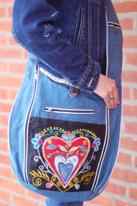 Embroidered Hobo Shoulder Bag Bohemian Rising  International Fair Trade Purse