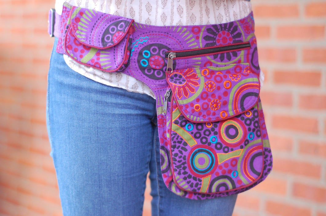 Colorful Purple Boho Festival Hiking Fanny Waist Pack Money Belt