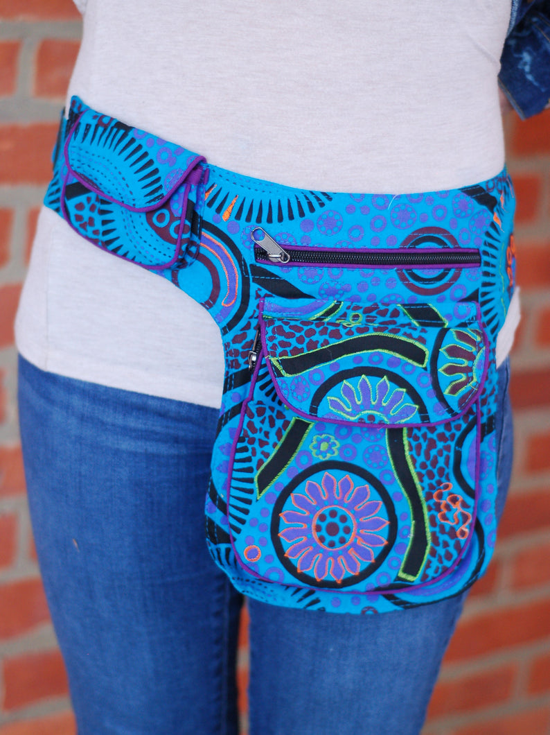 Colorful Blue Green Boho Festival Hiking Fanny Waist Pack Money Belt