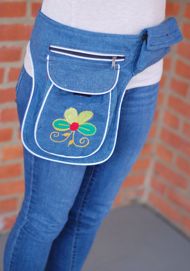 Cotton Embroidered Boho Festival Hiking Fanny Waist Pack Money Belt