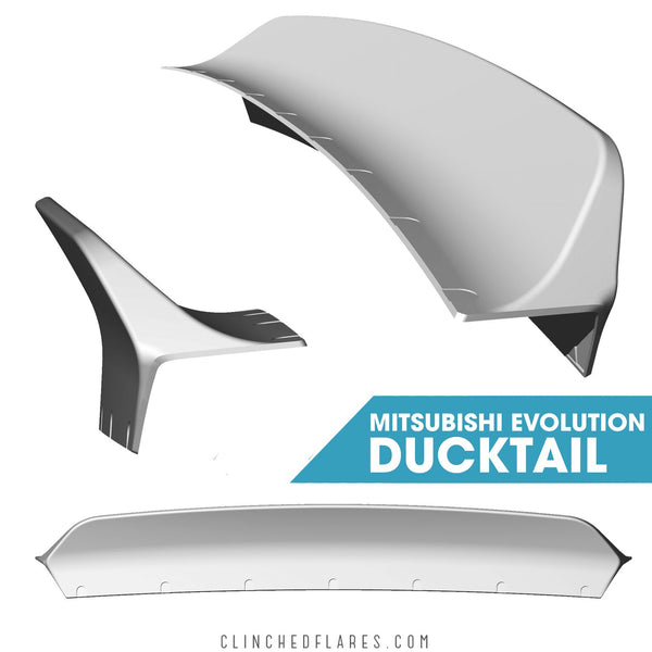 Clinched Flares Ducktail Spoiler for Mitsubishi Evo 7/8/9