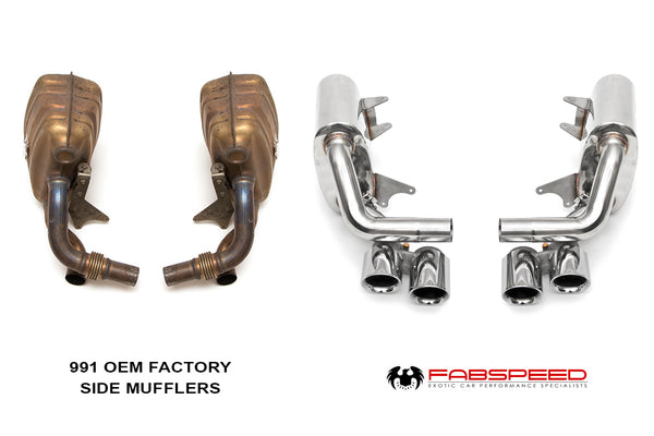 Fabspeed Porsche 991 Carrera 3.8L S / 3.4L PSE Maxflo Performance Side Exhaust System (Polished Chrome Tips)