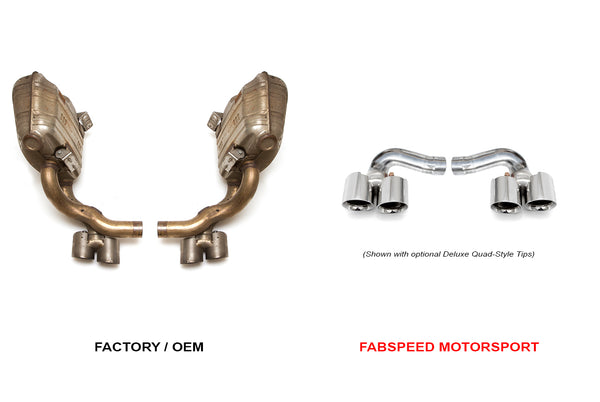 Fabspeed Porsche 997.2 Carrera Side Muffler Bypass Pipes (Polished Chrome Tips)