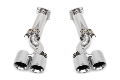 Fabspeed Muffler Bypass Exhaust System with Chrome Tips for Porsche 997 Turbo 2006-2009