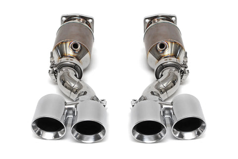 Fabspeed Muffler Bypass Exhaust System w/ Polished Tips and Sport Cats for Porsche 997 Turbo 2006-2009