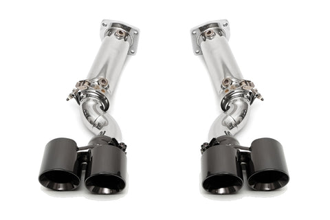 Fabspeed Muffler Bypass Exhaust System with Satin Black Tips for Porsche 997 Turbo 2006-2009