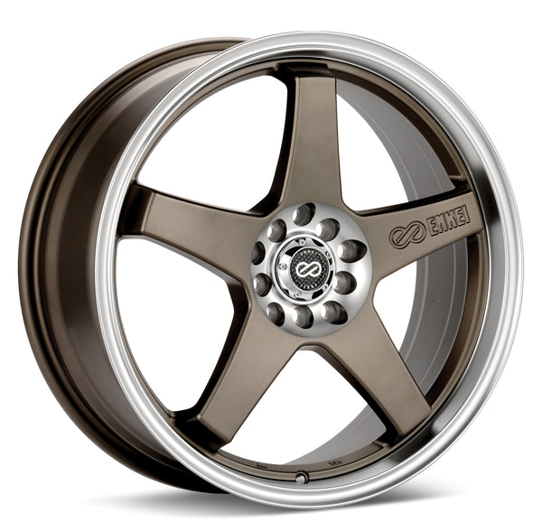 Enkei EV5 17x7 +45 5x100/5x114.3 Matte Bronze w/ Machined Lip