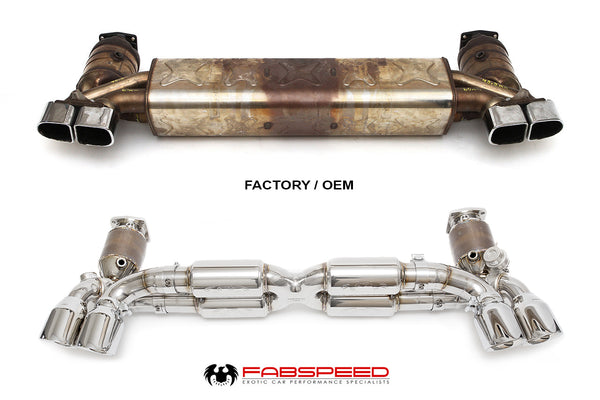 Fabspeed Porsche 991.2 Turbo Valvetronic Supersport X-Pipe Exhaust System (Polished Chrome Tips)