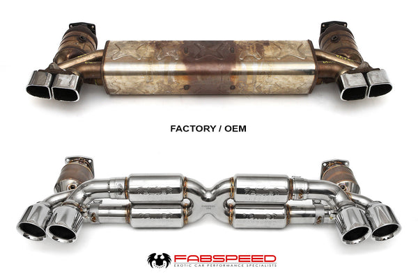 Fabspeed Porsche 991.2 Turbo / Turbo S Street Supersport X-Pipe Exhaust System (Polished Chrome Tips)