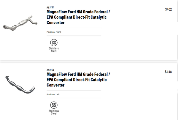 Magnaflow Ford HM Grade Direct Fit Catalytic Converters (Left and Right) for 2001 E250 Economize Van Ecoline V6