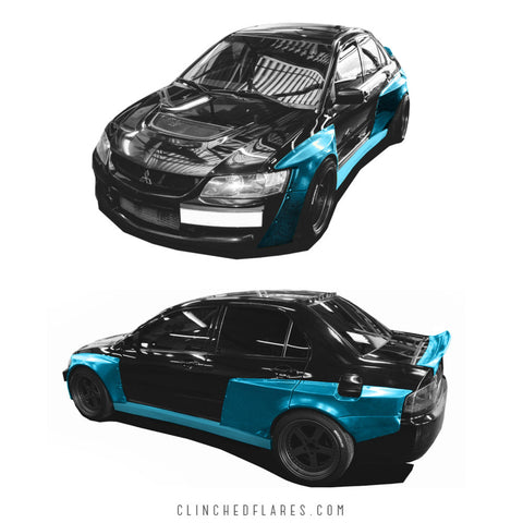 Clinched Flares Widebody Kit Mitsubishi Evolution 8/9