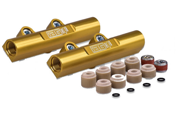 IAG Performance V3 Gold Top Feed Fuel Rails For 2002-2014 WRX / 2007+ STI / 2008-2012 Legacy GT / 2006-2013 Forester XT