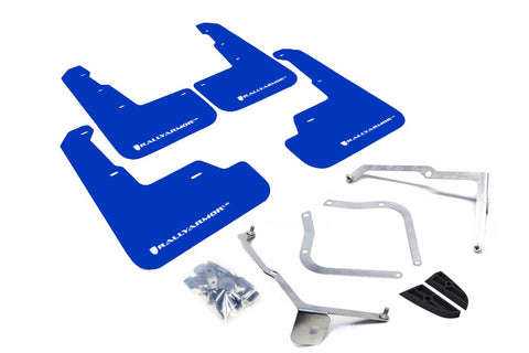 Rally Armor UR Blue Mud Flap with White Logo For 2015+ Subaru WRX / STi