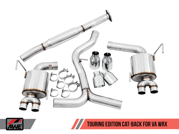 AWE Tuning Touring Edition Catback Exhaust Diamond Black Tips for 2015+ WRX