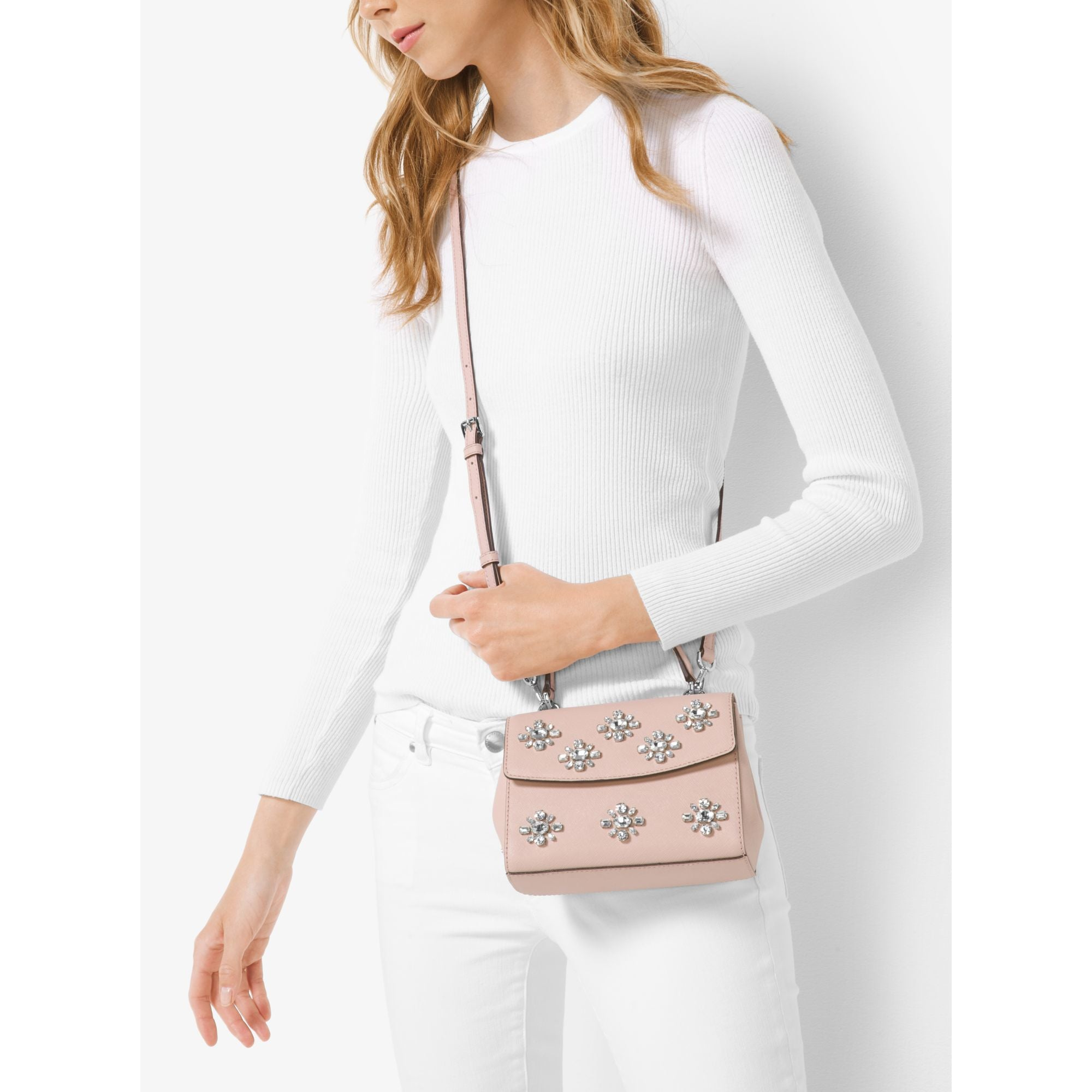 9e8a943b03457e ... Michael Kors Ava Extra-Small Crystal-Embellished Leather Crossbody in  Ballet